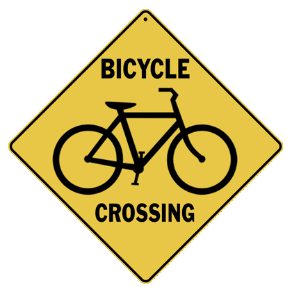 Bicycle Silhouette Crossing Sign - Front