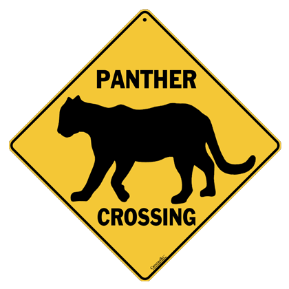 Panther Silhouette Crossing Sign