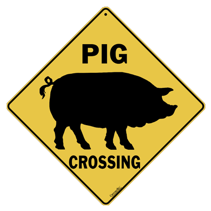 Pig Silhouette Crossing Sign