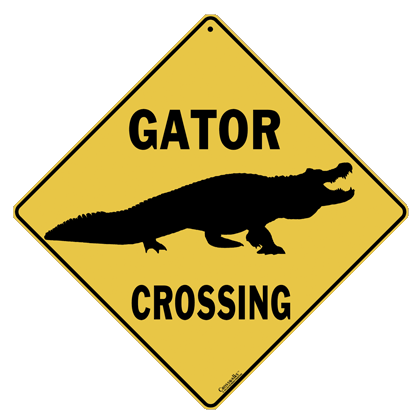 Alligator Silhouette Crossing Sign