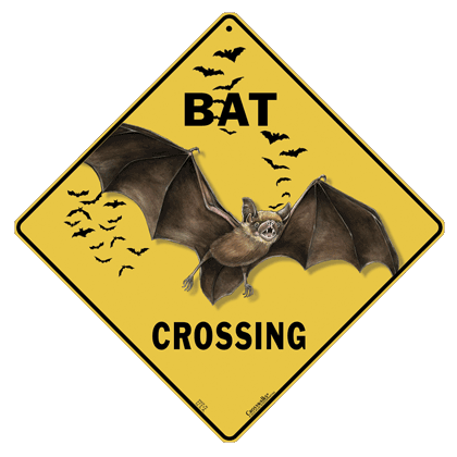 Bat Silhouette Crossing Sign