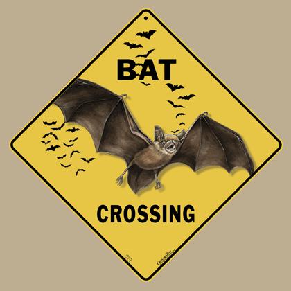Bat Silhouette Crossing Sign