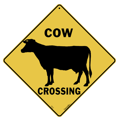 Cow Silhouette Crossing Sign