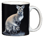 Kangaroo Ceramic Coffee Mug - Back