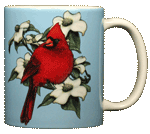 Cardinal Perching Ceramic Mug - Back