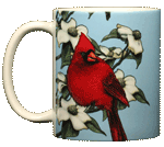 Cardinal Perching Ceramic Mug - Front