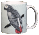 African Grey Ceramic Mug - Back