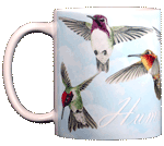 Hummingbirds Ceramic Mug - Front