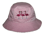 Flamingos Embroidered Bucket Cap - Pink Bucket Cap