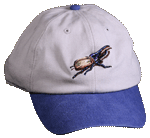 Hercules Beetle Embroidered Cap - Natural/Blue Unstructured Cap