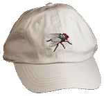 Red-Eyed Fly Embroidered Cap - Natural Unstructured Cap