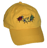 Ladybug Fun Adult Embroidered Cap - Lemon Yellow/Navy Trim Unstructured Cap