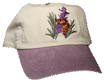 Butterfly on Lavender Embroidered Cap - Stone/Purple Unstructured Cap