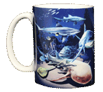 Shark & Ray Wrap Ceramic Mug - Front