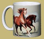 Running Horses Ceramic Mug - Front