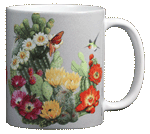 Cactus Flowers Ceramic Mug - Back