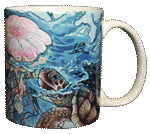 Sea Turtle Splash Ceramic Mug - Back