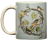 Songbird Wreath Ceramic Mug - Front