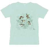 Hummingbird Lace Ladies Scoop Neck Tee - Front