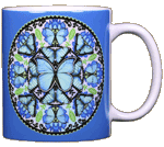 Morpho Butterfly Circle Ceramic Mug - Back