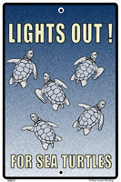 Lights Out for Turtles Warning Sign - Front