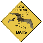Low Flying Bats Crossing Sign