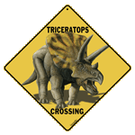 Triceratops Crossing Sign