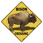 Bison Crossing Sign - Front