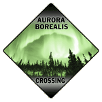 Aurora Borealis Crossing Sign