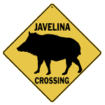 Javelina Silouette Crossing Sign