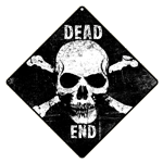 Skull Dead End Sign