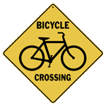 Bicycle Silhouette Crossing Sign