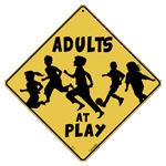 Adults At Play Crossing Sign