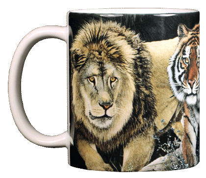 Lions & Tigers & Bears Ceramic Mug - Front