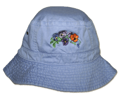 Pansy Embroidered Bucket Cap