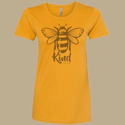 Bee Kind Ladies T-shirt - Next Level Antique Gold