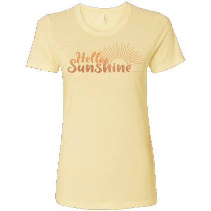 Hello Sunshine Ladies T-shirt - Next Level Banana Cream
