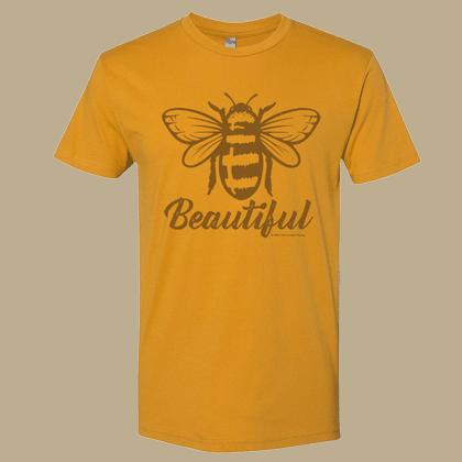 Bee Beautiful Unisex T-shirt - Next Level Antique Gold