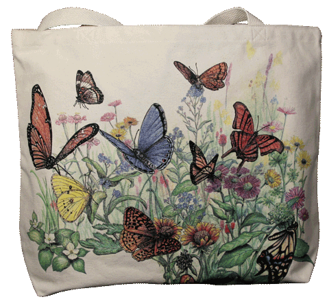 Butterfly Garden Canvas Tote - Front