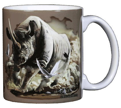 Rhino Ceramic Mug - Back