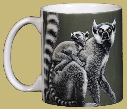 Ring-tailed Lemurs Ceramic Mug - Front