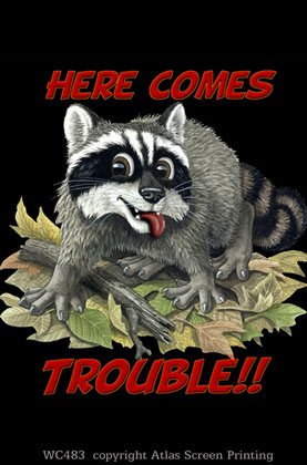 "Raccoon Trouble 2"" X 3"" Magnet"