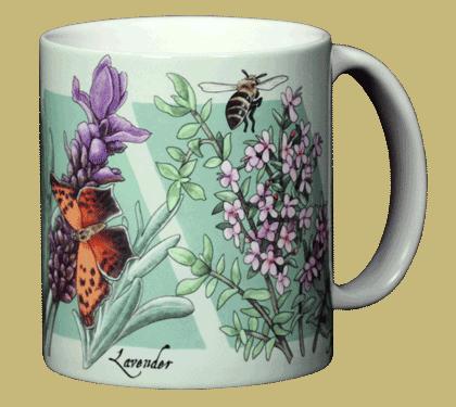 Strawberry, Lavender, Thyme Ceramic Mug - Back