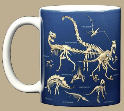 Dinosaur Bones Ceramic Mug - Front