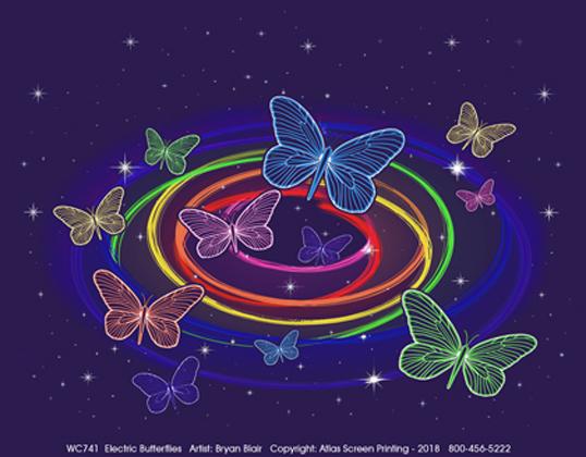 Electric Butterflies Adult T-shirt