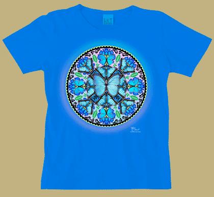 Morpho Butterfly Circle Ladies Scoop-Neck Tee - DC