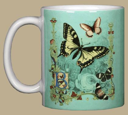 Victorian Butterflies Ceramic Mug - Front