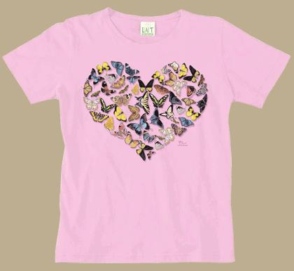Butterfly Heart Ladies Scoop-Neck Tee