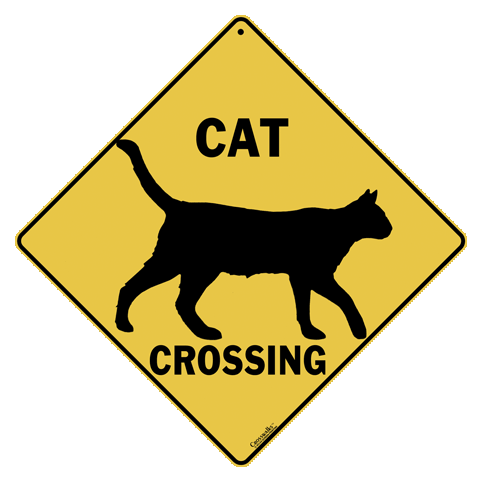 Cat Silhouette Crossing Sign