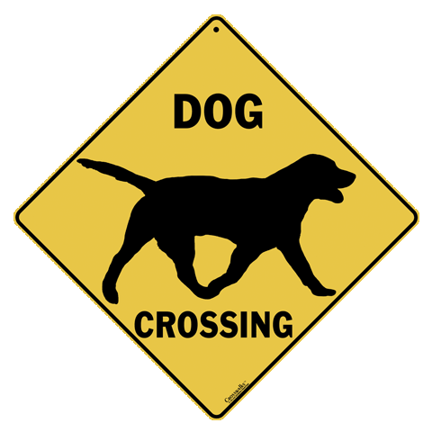 Dog Silhouette Crossing Sign